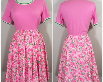 1970s Pink and Green Floral Dress by Serbin Petites // 70s Pink, Green, White Floral, Dress