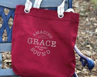 Amazing Grace canvas school bag red, shoulder canvas bag, tote everyday bag, farmers market bag, big bag tote