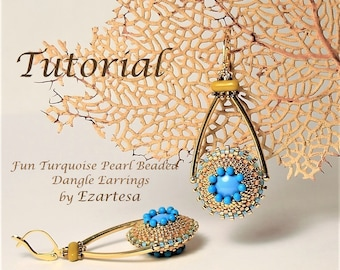 Fun Swarovski Turquoise Pearl Beaded Dangle Earrings Tutorial, Beaded Bead Pattern in Gold and Turquoise, Seed Bead Tutorials by Ezartesa