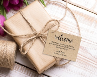Welcome Bag Gift Tags, Wedding Welcome tag, editable favor tag, instant download PDF