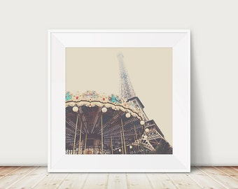 Paris photography, Eiffel Tower photograph, carousel photograph, spring time in Paris, Eiffel Tower carousel, travel photography