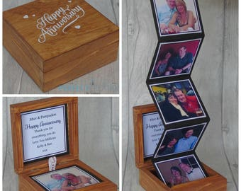 Wood Photo Box Keepsake, Memory box, Anniversary gift, Happy Anniversary, Wedding photo gift, Photo keepsake, Wedding keepsake, Love