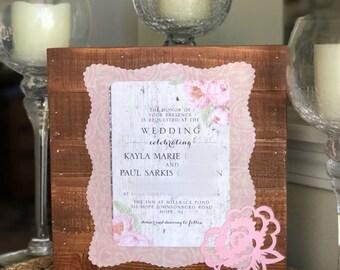 Invitation keepsake etsy keepsake wedding invitation plaque pallet style stopboris Image collections