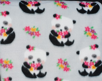 Pandas with Flowers Baby Toddler Fleece Blanket