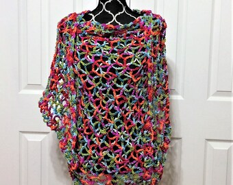 TROPICAL BREEZE SHAWL, stole, wrap, one size fits all, women's gift, teen girl's gift, rainbow, birthday gift, graduation, mother's day