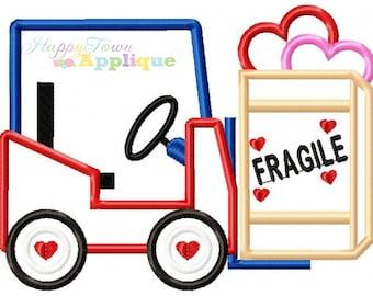 Valentine Forklift Machine Embroidery Design