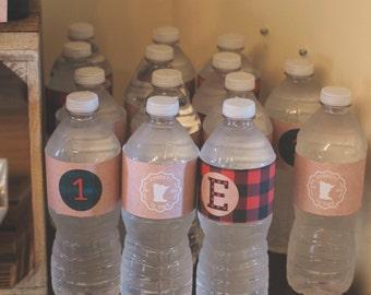 Lumberjack Birthday Party Water Bottle Labels - Personalized - DIY Water Bottle Labels *Digital File*