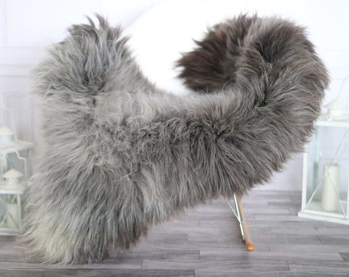 Sheepskin Rug | Real Sheepskin Rug | Shaggy Rug | Chair Cover | Sheepskin Throw | Gray Brown Sheepskin | Home Decor | #HERMAJ69