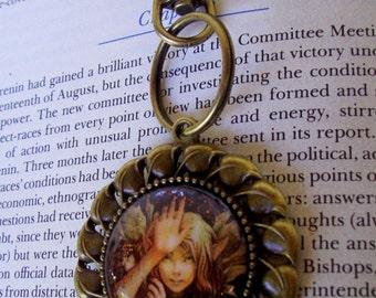 Woodland Fairy Keychain (KC700), Sparkle Captured Fairy Under Glass,  Bronze Hardware
