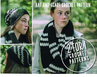 2 for 1 hat and scarf crochet pattern