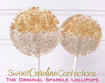Gold and Silver Favors, Wedding Favors, Lollipops, Metallic Favors, Gold Candy, Sweet Caroline Confections-6/Set