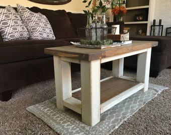 Chunky Farmhouse Coffee Table   Rustic Coffee Table   Farmhouse Style  Furniture   Living Room Table