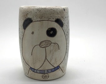 Handmade etched dog cup // Ceramic mug with puppy hand painted detail // Gift for dog lovers // small handmade planter // Frank Cup