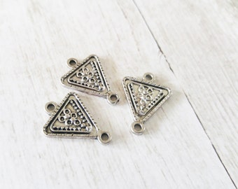 Silver Charms Connectors Antiqued Silver Geometric Charms Triangle Charm Connectors Silver Pendant Links 2 Hole Charms 3pcs