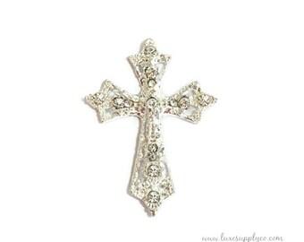 Cross Rhinestone Embellishment - 27mm*35mm - Baptism - Christianing - Wedding - Blessing - Church - DIY Headbands & Crafts : MR643
