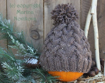 Hat with Pom Pom. Hand Knitted for Child up to Adult. Ready to ship