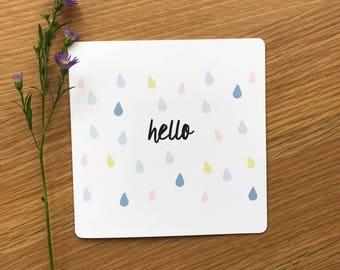 Hello Teardrop Greetings Card
