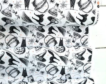 Eat, Drink, and Be Scary - Halloween Toss (White Background) - Windham Fabrics
