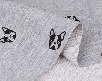 French Bulldog French Baby Terry Knit Fabric by Yard, Width 150cm (59 Inch) - Melange Color