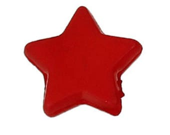 """set of 50 acrylic beads """"Star""""Red 10 X 9 mm (1.5 mm hole)"""