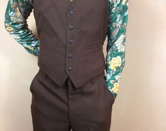 JCPenney Mens Vintage 3 Piece Suit Polyester Chocolate Brown Reversible Vest