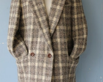 Vintage Grey and Cream Campus Blazer/Jacket/Wool Blend/Boxy Cut/Minimalist/