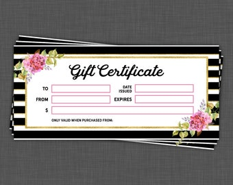 Gift Certificate - Stripe and Floral Design - LipSense Gift Certificate -  Gift Certifcate - Instant Download