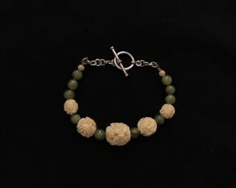Carved Bone and Green Apatite Beaded Bracelet