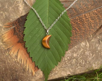 Tigers Eye Moon Necklace for New Beginnings & Self Confidence