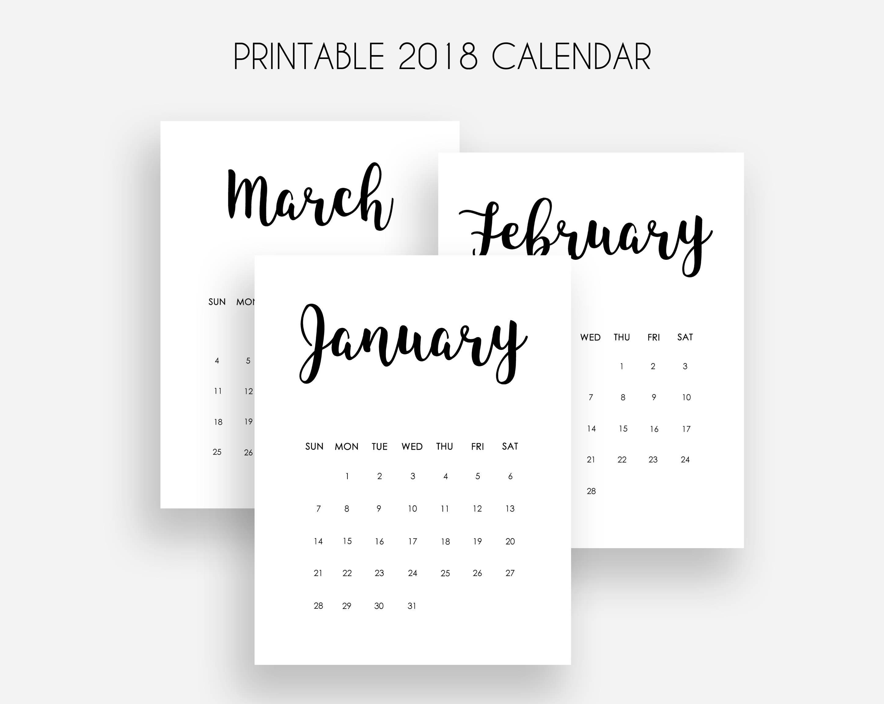 2018 Calendar Minimalist Printable : Printable kalender monats