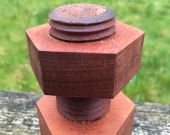Decorative wooden nut and bolt  - hand made from mahogany