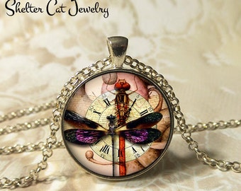 "Steampunk Purple Dragonfly Necklace - 1-1/4"" Circle Pendant or Key Ring - Handmade Wearable Photo Art Jewelry - Bug, Clock, Pink, Gift"