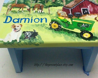 personalized,customized farm step stool,green tractor,horses,dogs,boys bench,kids stepstools,children's step stools,boy's gift