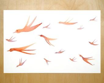 flock of birds art print 11x17