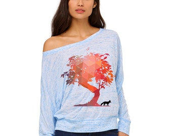 Women's tshirts   Fox Sweatshirt   Fox Shirt    off shoulder sweater   Long Sleeve   oversized sweater   workout shirt   yoga shirt   Tree  