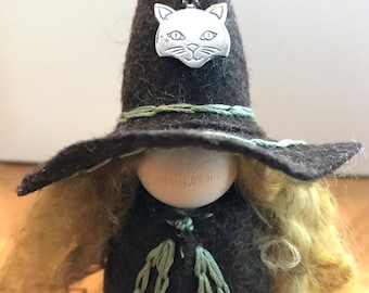 Large Cat Witch Peg Doll, Waldorf Wooden Peg Doll, Handmade Miniature