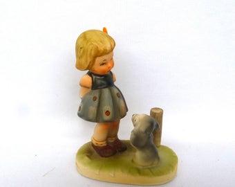 Vintage HUMMEL STYLE Girl and Dog FIGURINE