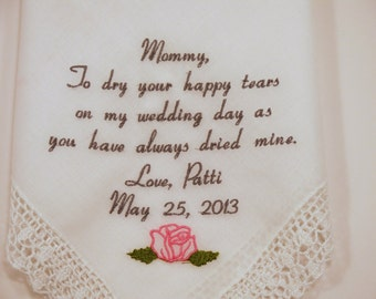 Mother of the Bride Wedding Handkerchief Embroidered Hankerchief Personalized Gift for Mom by Napa Embroidery