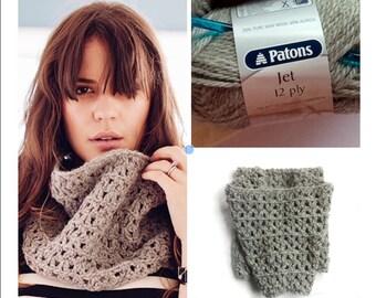 Crochet kit yarn hook free pdf cowl neck warmer infinity scarf diy project pack supplies