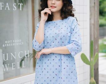 Blue Dress Elbow Sleeve Women A Line Dress Casual Summer Dress Cotton Dress Nautical Print Dress Novelty Dress Loose Shape Dress with pocket