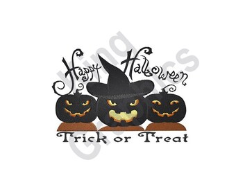 Trick Or Treat - Machine Embroidery Design, Happy Halloween, Halloween, Jack-O-Lanterns