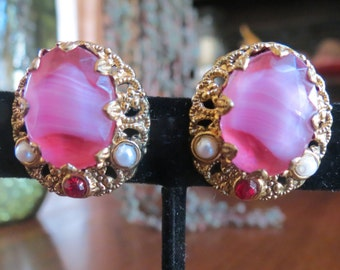 Varigated Pink Cabachon and Faux Pearl Clip on Earrings W Germany