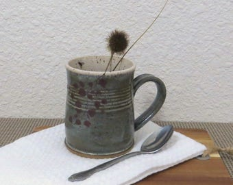 SALE - Mug Cup - Handmade Stoneware Pottery Ceramic - Charcoal Grey, and White - Branch and Fly - 14 ounce