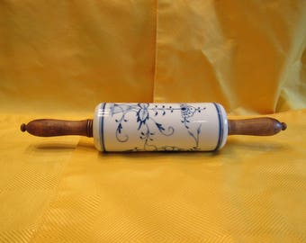 Vintage Blue Onion Stone Rolling Pin