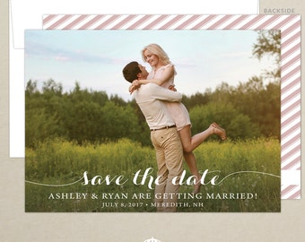 FREE SHIPPING - Photo Script Save the Date Announcement - Handwritten Script - Photo Card - Wedding Save the Date -  Printed or Digital