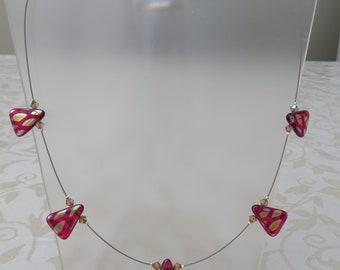 Fuschia triangular glass/swarovski crystal necklace on kink free wire with magnetic clasp