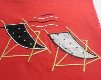 Black and white chairs on red jersey fabric embroidery