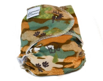 Cloth Diaper Fitted, One Size, Woodland Camo, Flannel - Add Snaps, Hook and Loop, or Pins