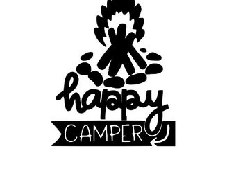 Happy Camper Camping Outdoor Funny Vinyl Car Decal Bumper Window Sticker Any Color Multiple Sizes Jenuine Crafts