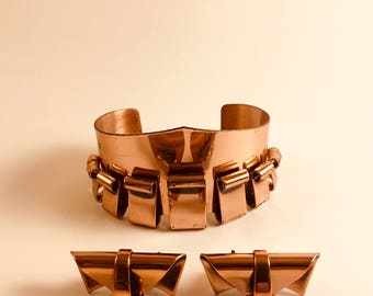 Renoir Copper Modernist Cuff Bracelet and Matching Copper Clip Earrings Set